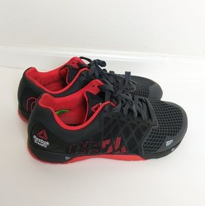 Men's red and black CrossFit Reebok shoes